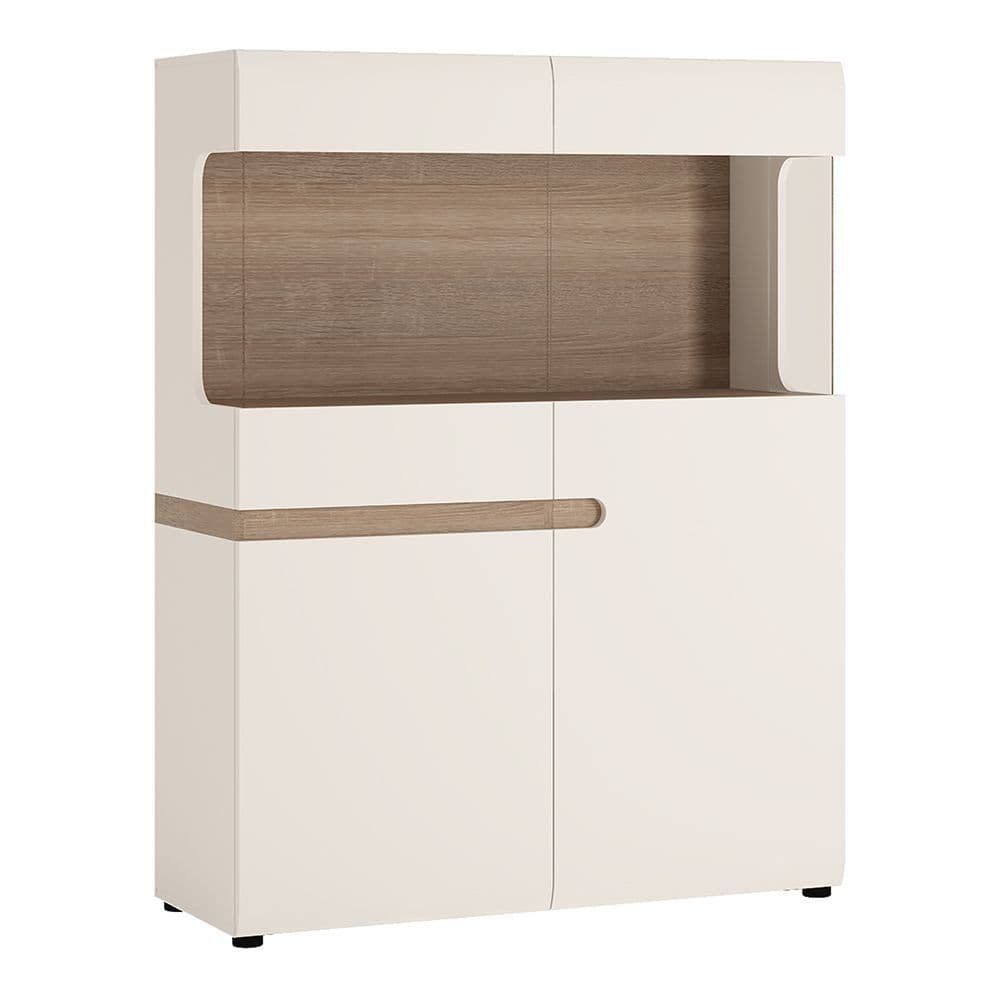 Brompton Low Display Cabinet 109cm wide in White with oak trim